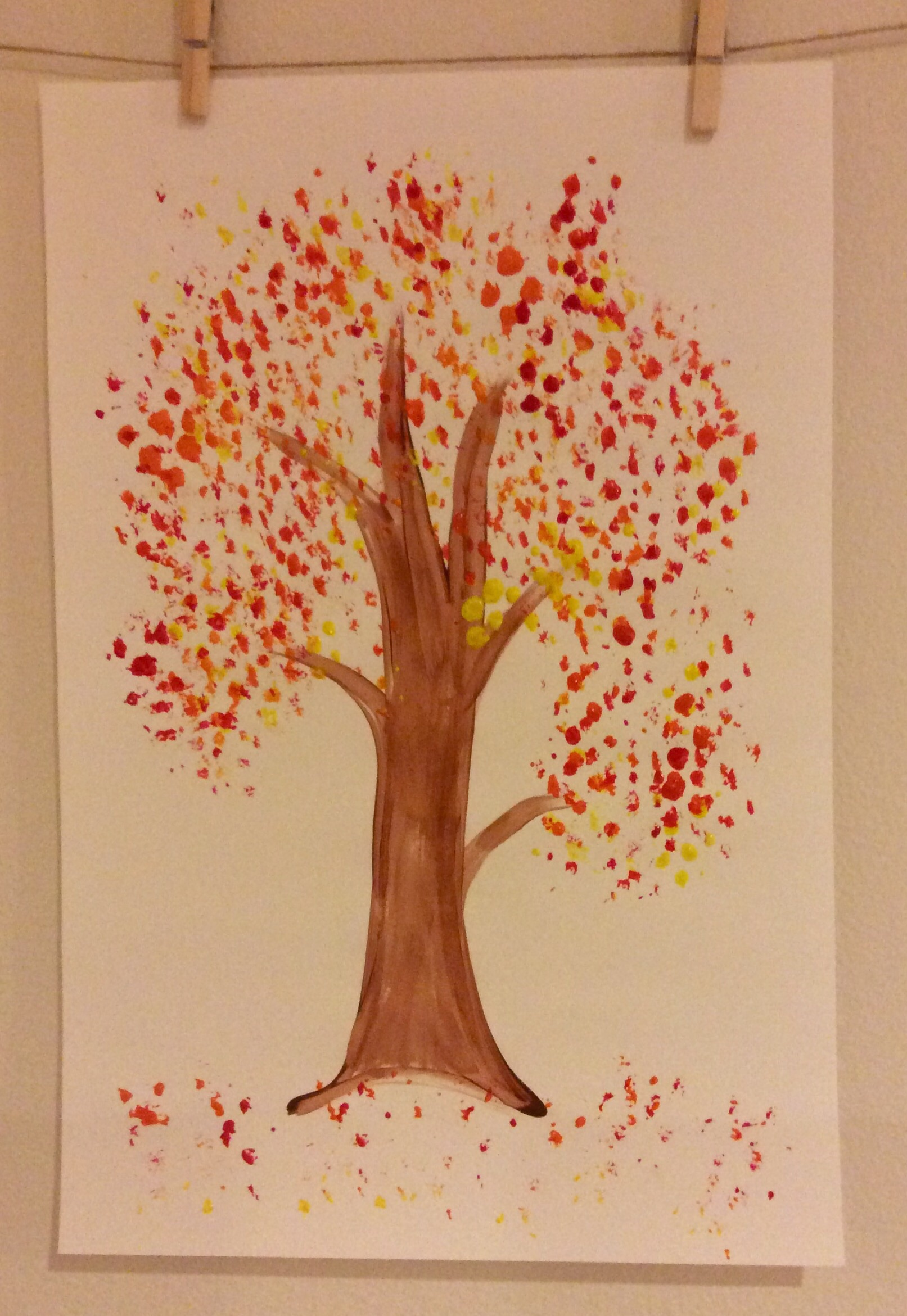 Fall Tree Splatter Painting